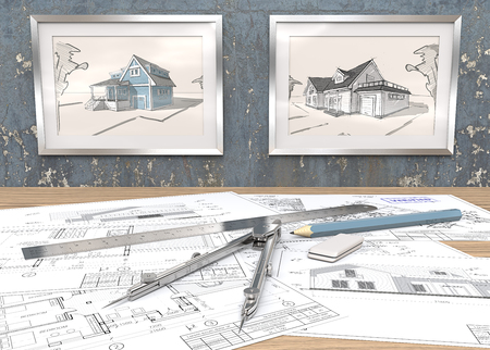 Blue theme House project workplace. 2 Metal Picture Frames on blue worn concrete Wall with house sketches. Generic Architectural blueprints on table. Ruler, Pencil and Divider of metal. 3D render.