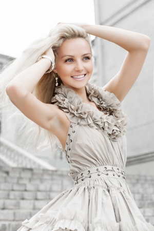 Foto de  Portrait of  a young beautiful girl. Outdoors - Imagen libre de derechos