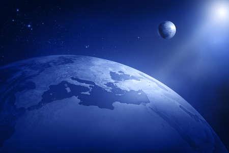 Earth and moon in deep space - Africa and Europe  3D
