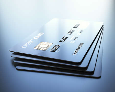 Credit Cards - 3d rendered with medium DOF