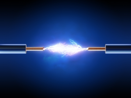 Photo pour Electrical spark between  two insulated copper wires ( 3d render  ) - image libre de droit