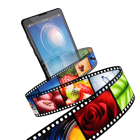Streaming video with modern mobile phone - isolated on white