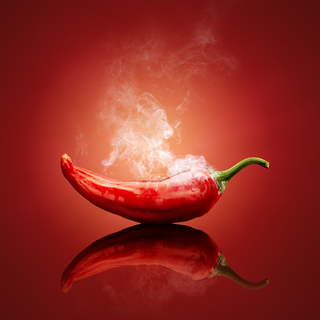 Photo pour Hot chili red smoking or steaming with reflection - image libre de droit