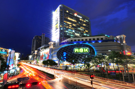 BANGKOK MBK SHOPPING MALL MAY 30  Normally this place has heavy traffic at night  This is one of the famous shopping mall in Bangkok, Thailand  Many tourists come to enjoy shopping here  Bangkok 2014