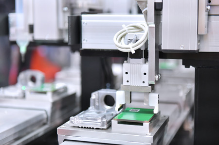 Photo pour Electronic circuit board production in machinery and technology - image libre de droit