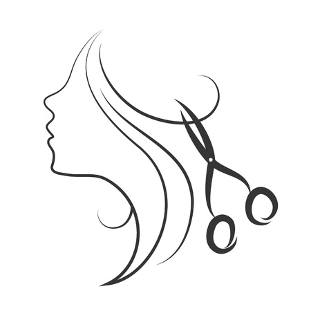 girl and scissors design for hairdresser