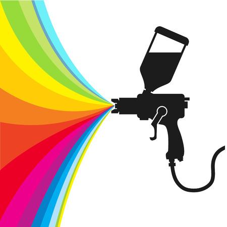 Silhouette gun spray paint color, vector