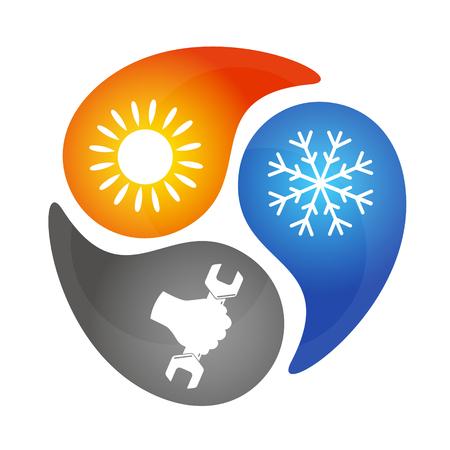 Ilustración de Air conditioning repair, sign for business - Imagen libre de derechos