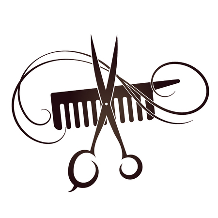 Ilustración de Scissors and Comb symbol for the hair and beauty salon - Imagen libre de derechos
