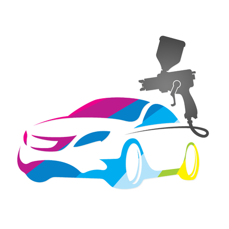Illustration for Painting car design vector business silhouette - Royalty Free Image