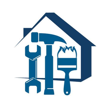 Ilustración de Repair of home with a tool, for business symbol - Imagen libre de derechos