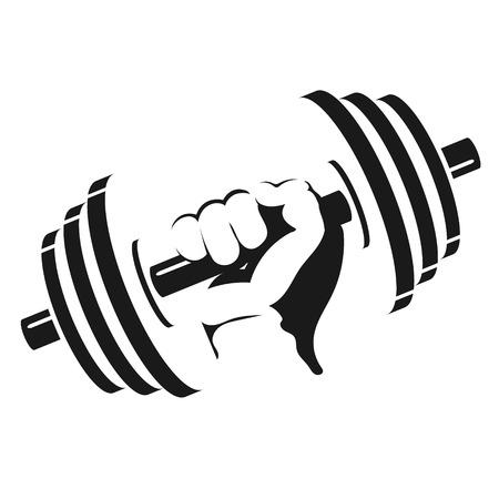 Ilustración de Dumbbell in hand silhouette for the gym - Imagen libre de derechos