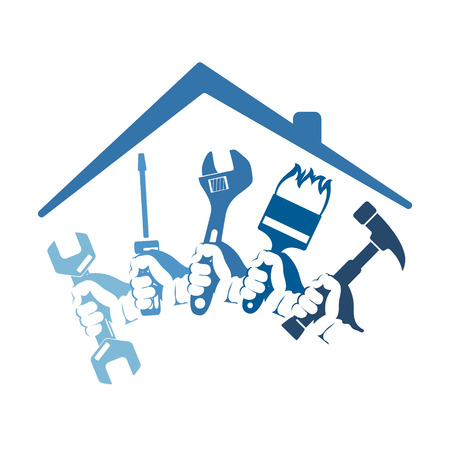 Illustration for Home repairs with a tool for business symbol - Royalty Free Image