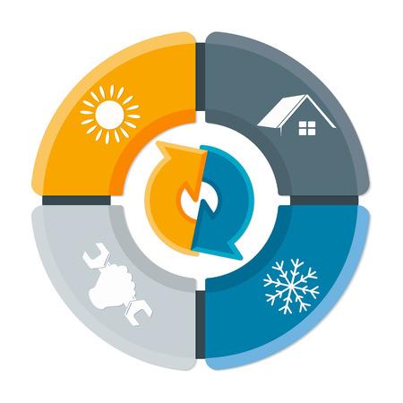 Ilustración de Repair of air conditioner and ventilation symbol for home business - Imagen libre de derechos