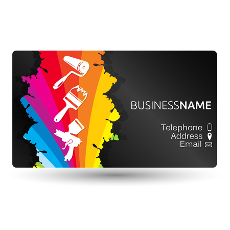 Illustration for Business card for painting business layout - Royalty Free Image