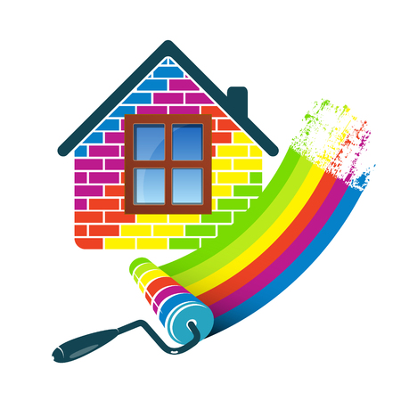 Illustration for Painting house design for business - Royalty Free Image