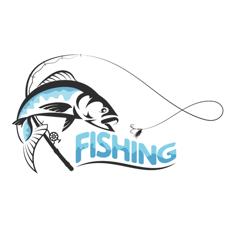 Fish jumping for bait and fishing pole silhouette