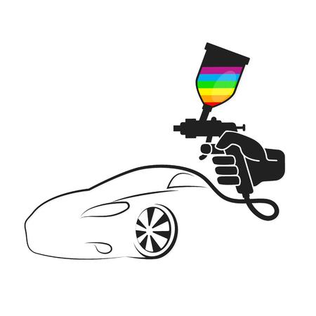 Ilustración de Spray in hand for painting an auto illustration - Imagen libre de derechos