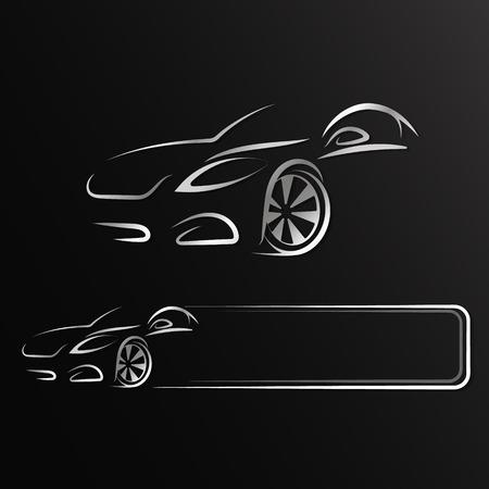 Ilustración de Auto design silhouette for rent and repair - Imagen libre de derechos