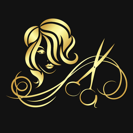 Illustration pour Silhouettes of girls and scissors of gold color - image libre de droit