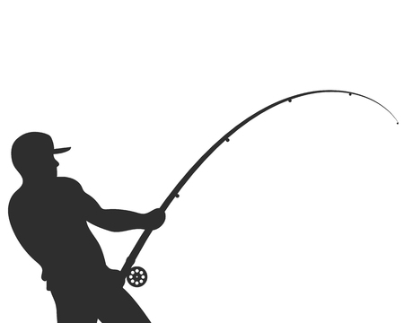 Illustration pour Silhouetted fisherman with a fishing rod vector illustration - image libre de droit