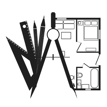 Silhouettes drawing compasses with pencils and house plan