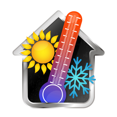 Illustration for Temperature in the house air conditioning and heating symbol - Royalty Free Image