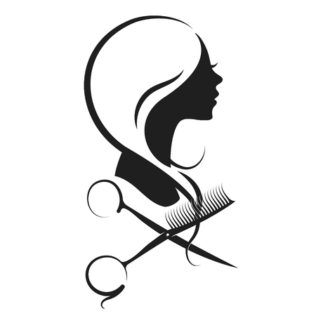 Ilustración de Girl and scissors with a comb silhouette vector - Imagen libre de derechos
