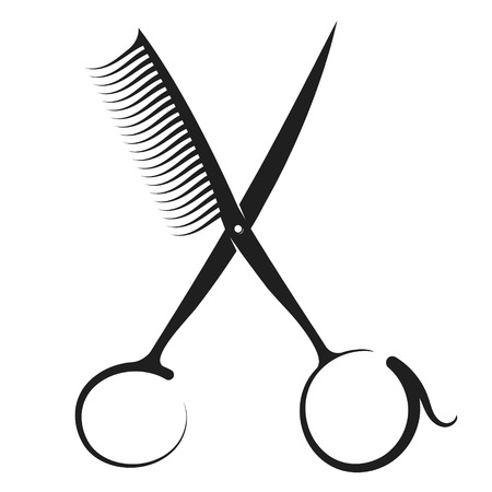 Illustration for Scissors and comb silhouette for hairdresser and beauty salon - Royalty Free Image