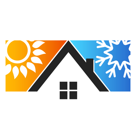 Ilustración de House sun and snowflake for air conditioning - Imagen libre de derechos