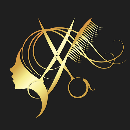Illustration pour Girl and hairdressing scissors symbol for a beauty salon in gold color - image libre de droit