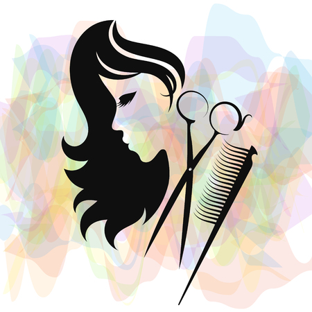 Ilustración de Beauty salon and hairdresser silhouette for business - Imagen libre de derechos