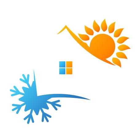 Ilustración de Air conditioning sun and snowflake symbol for business - Imagen libre de derechos