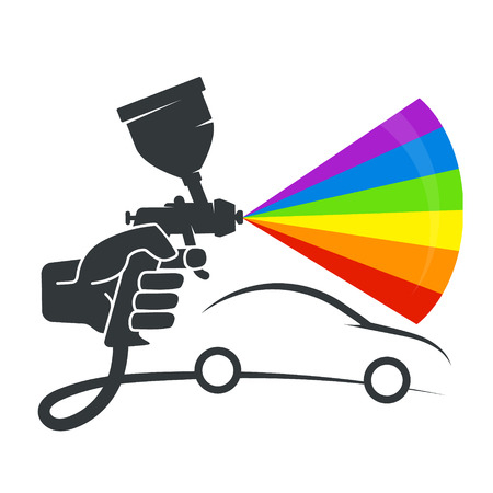 Ilustración de Spray in the hand symbol for painting the car - Imagen libre de derechos
