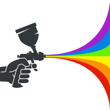 Ilustración de Spray gun with colored paint in the hand silhouette - Imagen libre de derechos