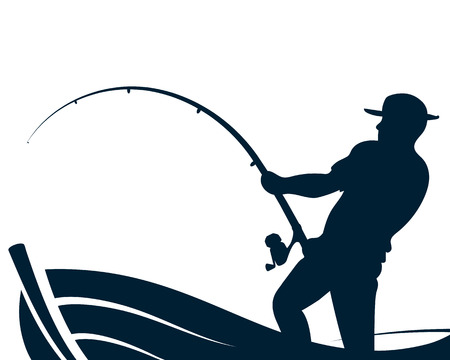 Illustration for Fisherman with a fishing rod in a boat silhouette - Royalty Free Image