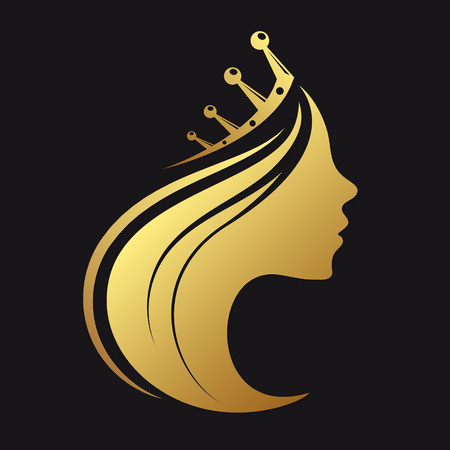 Ilustración de Profile of a girl with a crown of gold color - Imagen libre de derechos