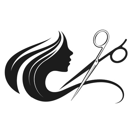 Illustration pour Profile of a girl and a beauty salon scissors - image libre de droit