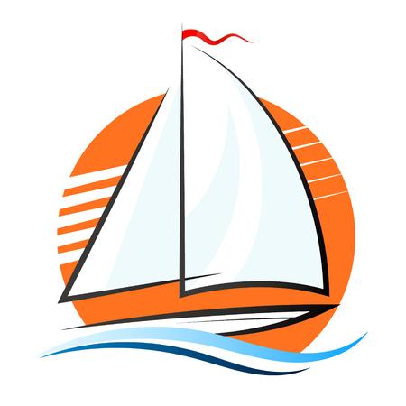Illustration pour Yacht with sails on the wave and the sun - image libre de droit