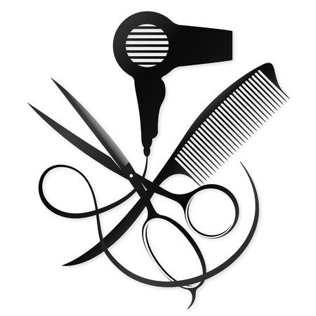 Ilustración de Scissors, comb and hair dryer - Imagen libre de derechos