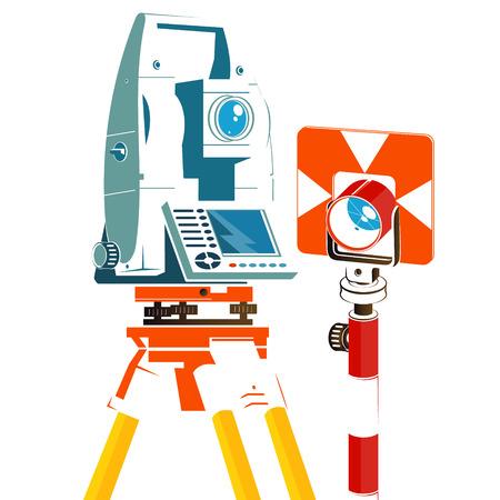 Illustration pour Tacheometer and geodetic reflector silhouette for business - image libre de droit