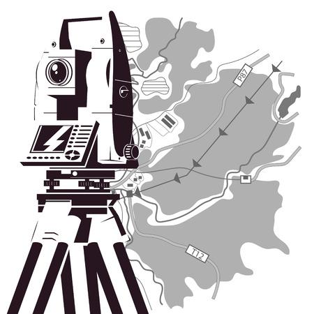 Illustration pour Total station and area map silhouette for surveyor - image libre de droit