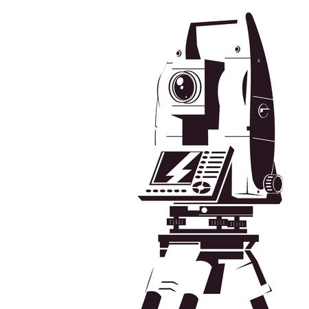 Illustration pour Ttotal station geodetic silhouette symbol for business - image libre de droit