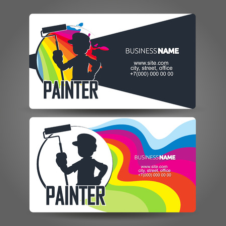 Illustration for Painter with roller silhouette business card concept - Royalty Free Image