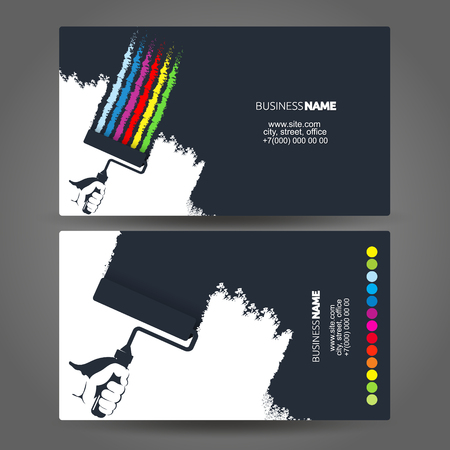 Illustration for Roller in hand painter silhouette concept business card - Royalty Free Image