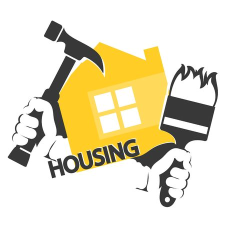 Illustration for Housing repair symbol hammer and brush tool in hand - Royalty Free Image