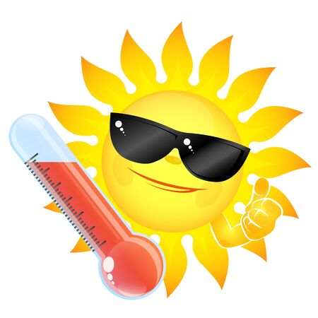 Illustration for Fun sun wearing sunglasses and a thermometer high temperature design - Royalty Free Image