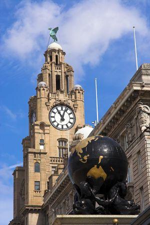 Liver Building and globe, Liverpool, Merseyside, England