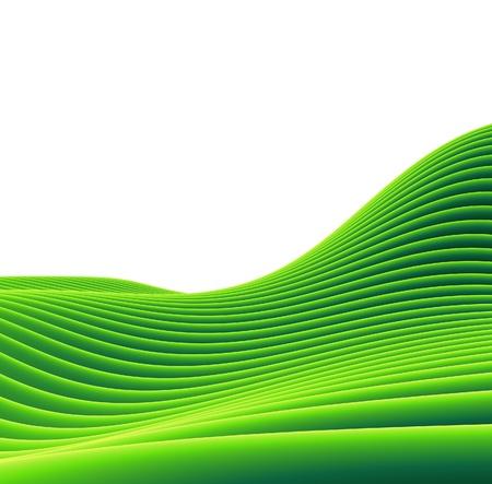 3d render of a green tube sloping landscape