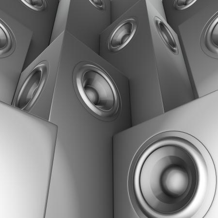 3d render of silver chrome sound-system deejay dj set